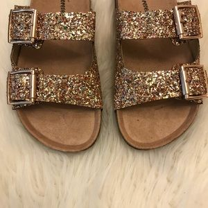 •RESTOCKED• Gold Glitter Buckle Footbed Sandal